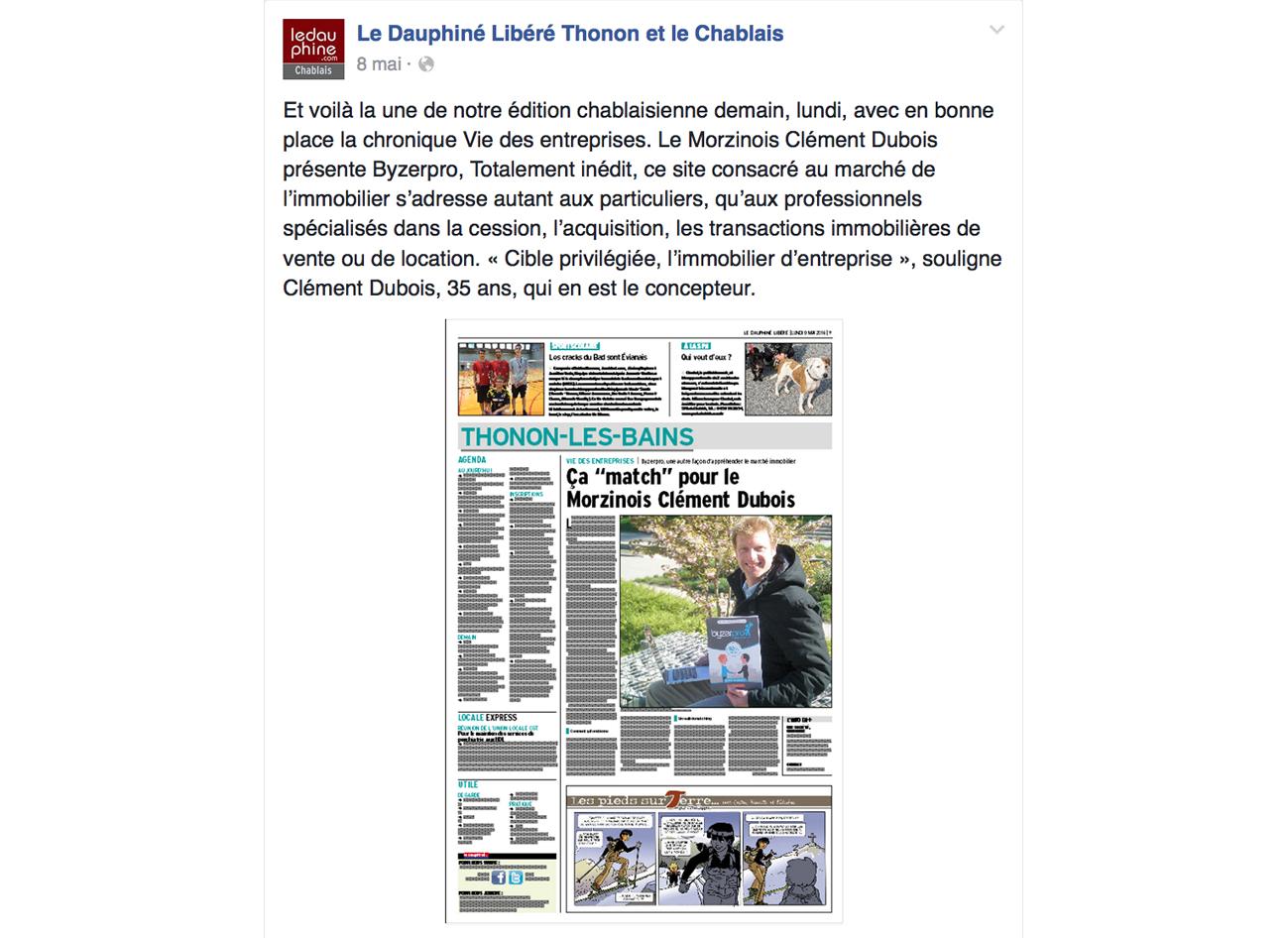 Byzerpro.com sur le Dauphiné-Libéré
